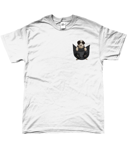 Border Collie in A Pocket T-Shirt - Mens