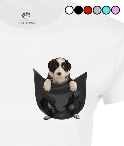 Border Collie in a Pocket T-Shirt - Womens