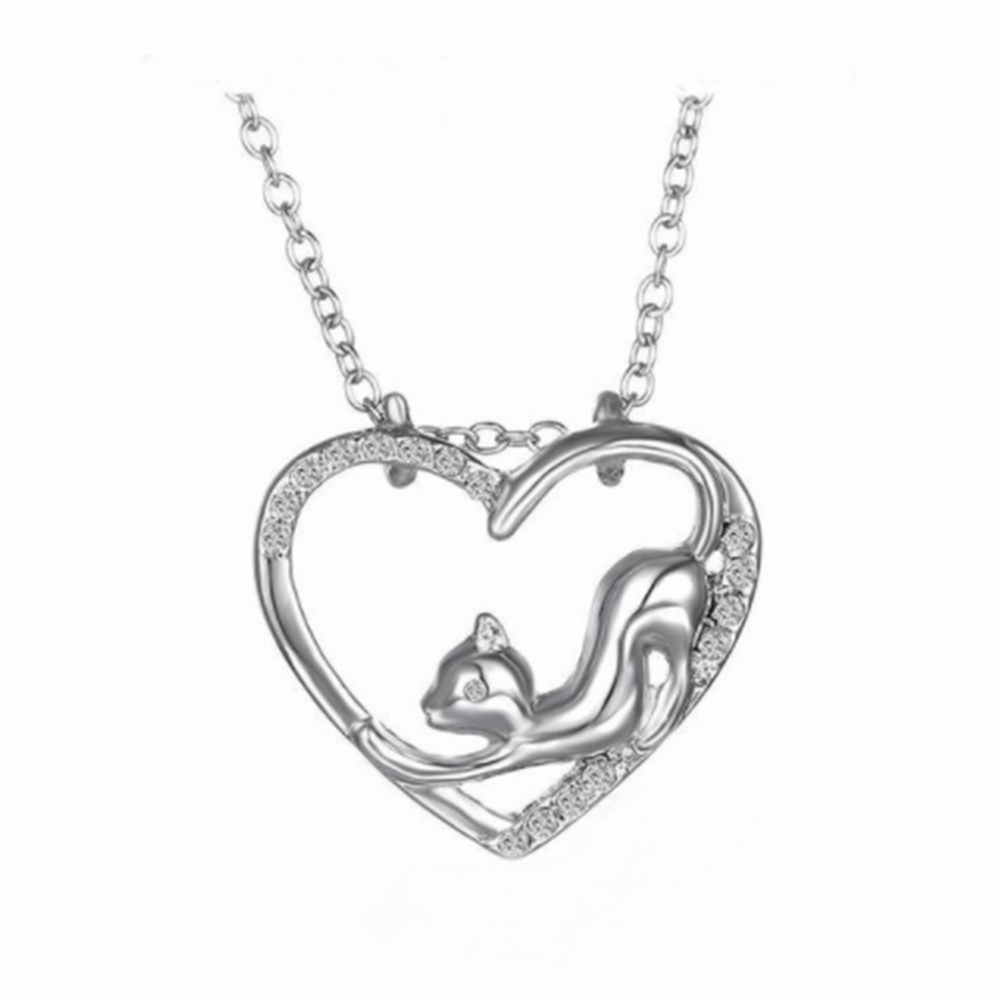 Cat And Heart Necklace