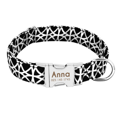 Black And White Personalised Pet Collar