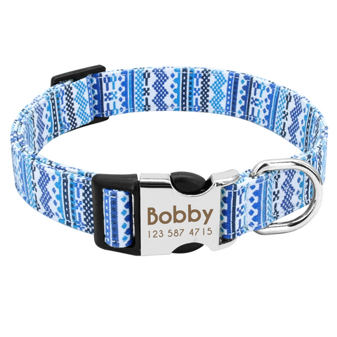 Blue Aztec Personalised Pet Collar