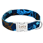 Blue Leaves Personalised Pet Collar