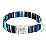 Blue Striped Personalised Pet Collar