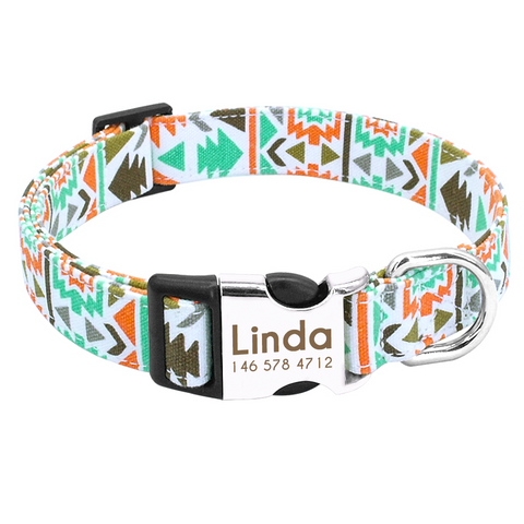 Green Aztec Personalised Pet Collar