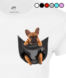 French Bulldog in a Pocket T-Shirt - Womens