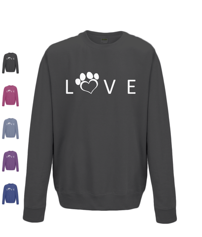 Clothing - Help For Paws Love Sweatshirt - White Logo