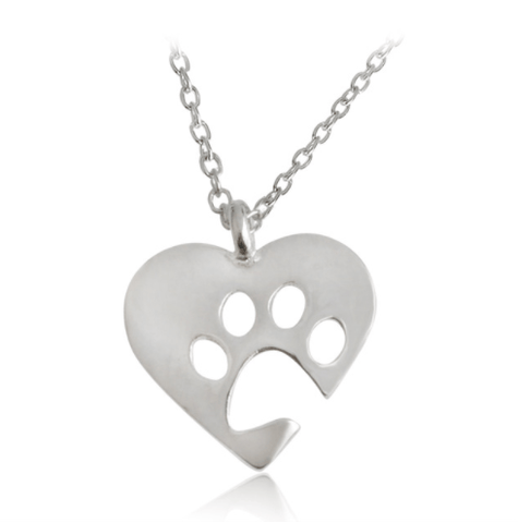 Necklace - I Love Paws Necklace - Silver