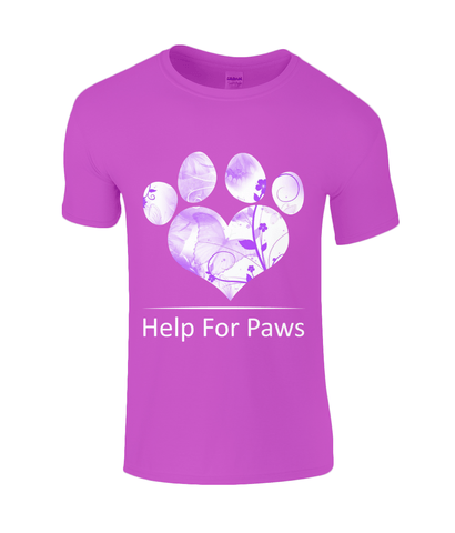 Clothing - Help For Paws Purple Floral T-Shirt