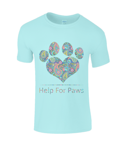Help For Paws Turquoise Paisley T-Shirt
