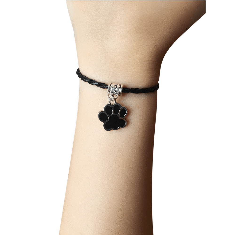 Paw Leather Bracelet In Black