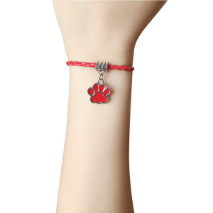Paw Leather Bracelet In Red