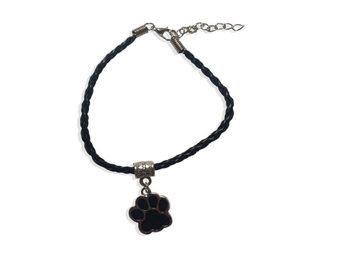 Leather Bracelet - Paw Leather Bracelet In Black