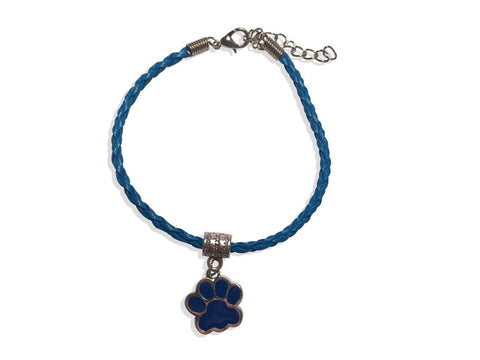 Leather Bracelet - Paw Leather Bracelet In Blue