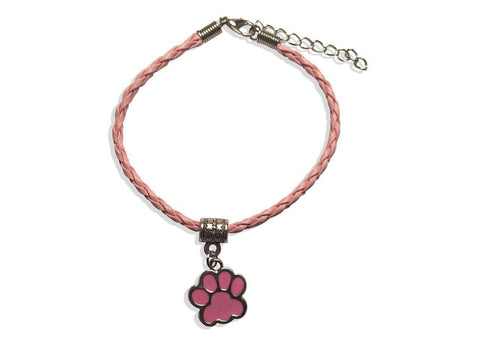 Leather Bracelet - Paw Leather Bracelet In Pink