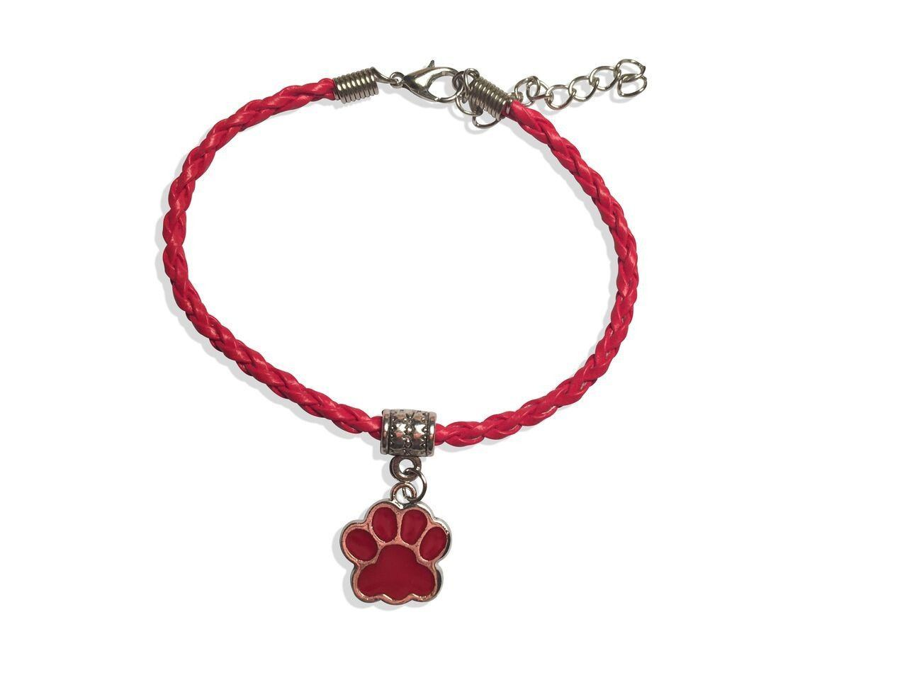 Leather Bracelet - Paw Leather Bracelet In Red