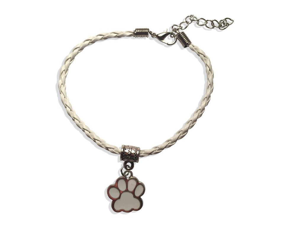 Paw Leather Bracelet In White