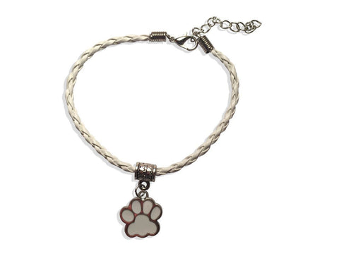 Leather Bracelet - Paw Leather Bracelet In White