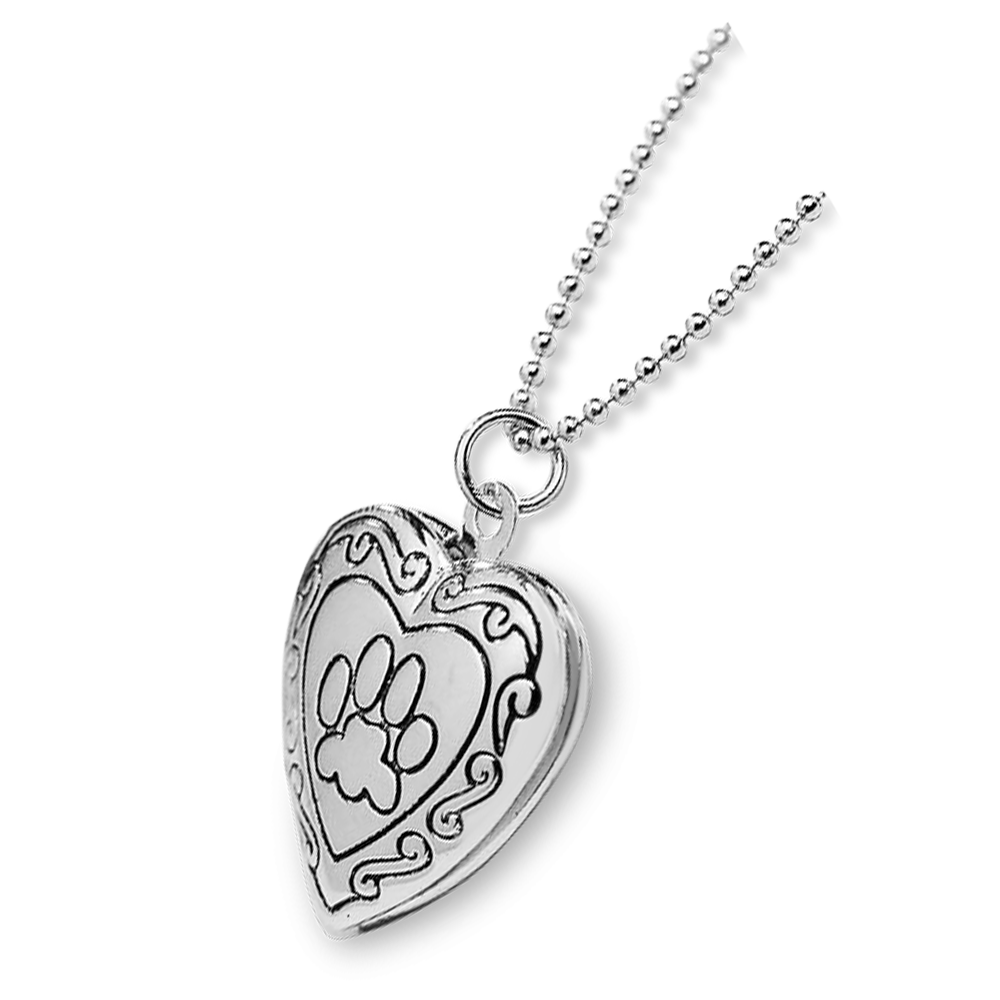 Paw Locket Necklace in Silver
