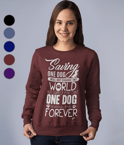 Clothing - Saving One Dog Sweatshirt - White Text