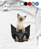 Siamese Cat in a Pocket T-Shirt - Mens