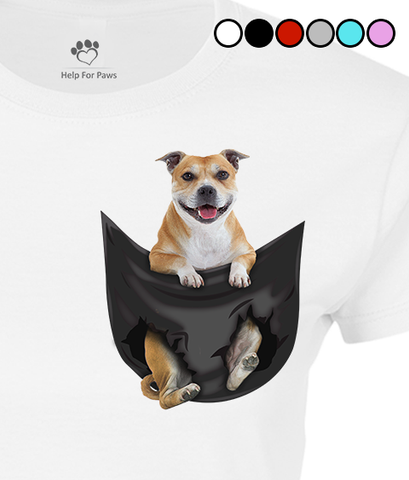 Staffordshire Bull Terrier in a Pocket T-Shirt - Womens