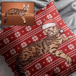 Christmas Cushion - Custom Oil Painting Christmas Cushion Of Your Pet