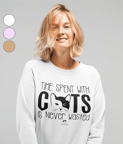 Clothing - Time Spent With Cats Is Never Wasted Sweatshirt - Black Text