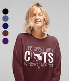 Clothing - Time Spent With Cats Is Never Wasted Sweatshirt - White Text