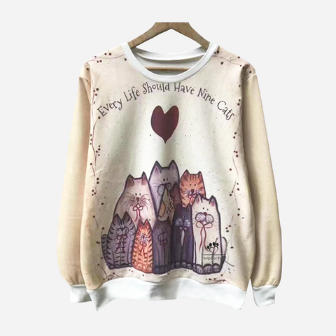 Nine Cats Sweatshirt - Womens