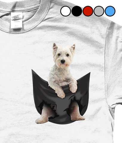 West Highland Terrier in a Pocket T-Shirt - Mens