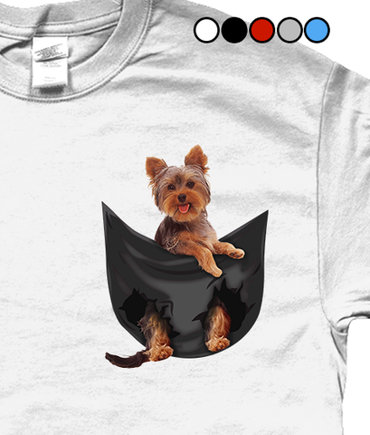 Yorkshire Terrier in a Pocket T-Shirt - Mens