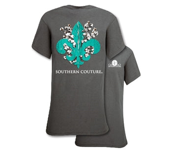 Southern Couture Classic Cotton Fleur de Lis in charcoal