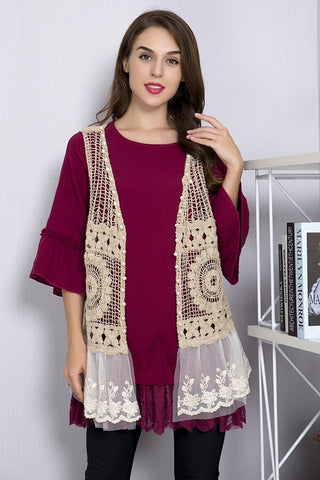 Paisley Vine Crochet and Lace Mix Vest in mocha