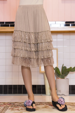 Paisley Vine Ruffle Lace Accent Skirt in mocha