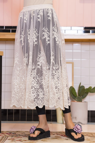 Paisley Vine Lace Skirt in beige