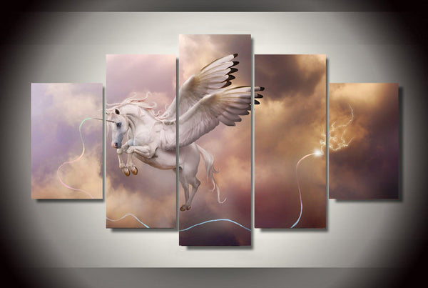 Pegasus Flying Through the Storm 5 Piece Art Canvas