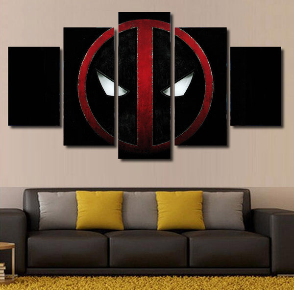 Deadpool Symbol 5 Piece Canvas Painting