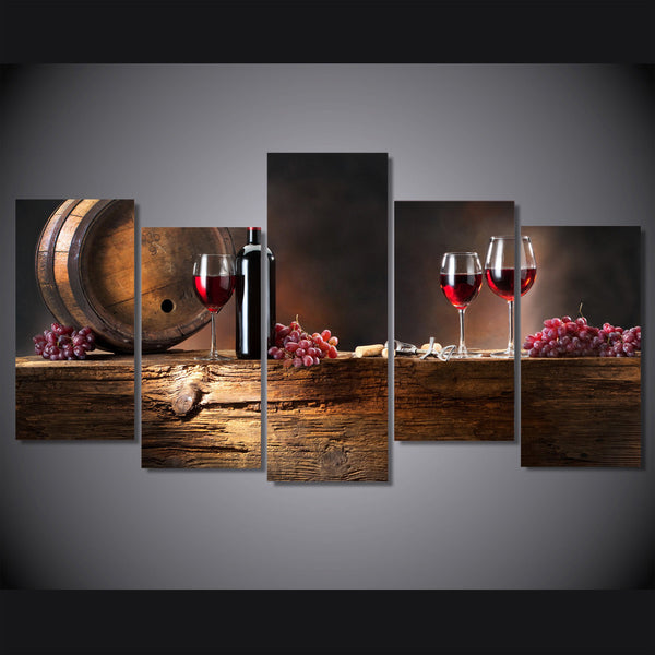 Red Wine Glasses 5 Piece Canvas Painting