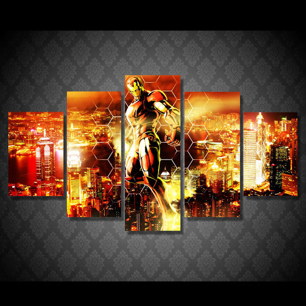 Iron Man Flying 5 Piece Painting Canvas