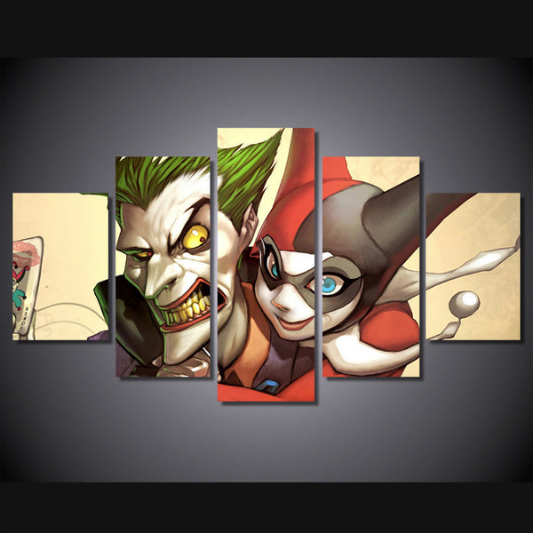 Joker and Harley 5 Piece Canvas Painting
