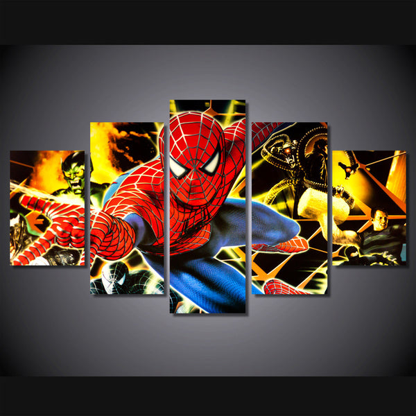 Friendly Neighborhood Spiderman 5 Piece Canvas Painting