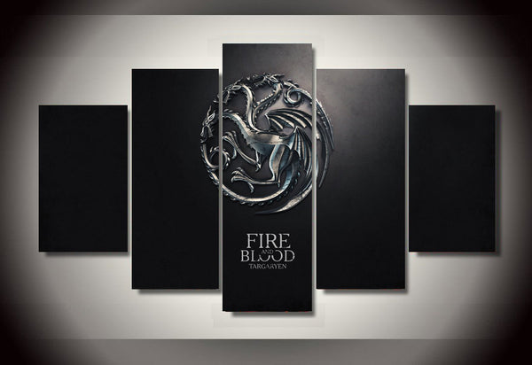Game of Thrones Fire and Blood 5 Piece Wall Canvas