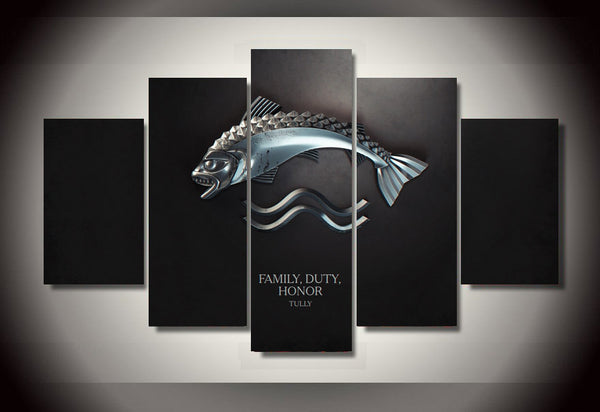 Game of Thrones Family and Honor Silver 5 Piece Canvas