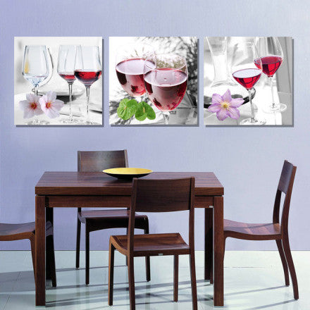 3 Panel Abstract Still Life Red Wine Cup Kitchen Home Decor Painting Canvas