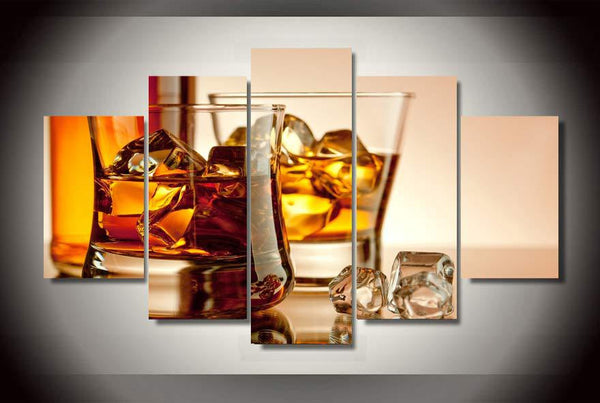 Whiskey Ice Wine 5 Piece Canvas Painting