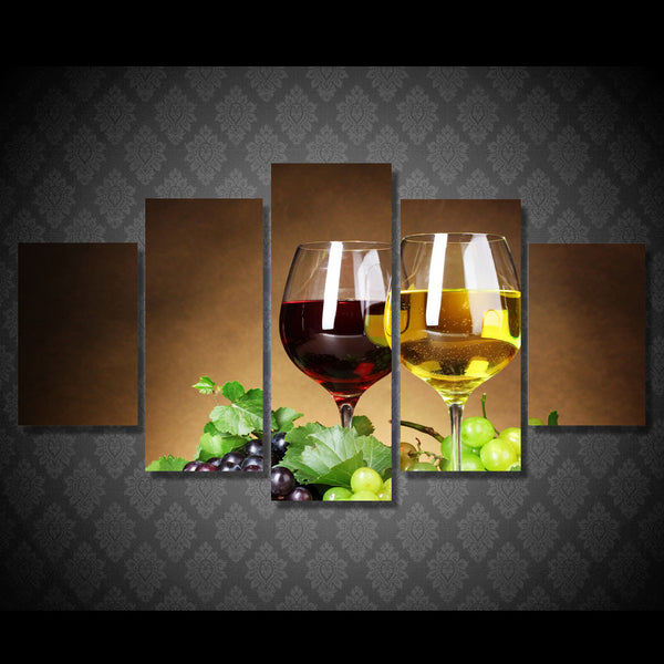 Wine Glasses Drink Alcohol 5 Piece Canvas