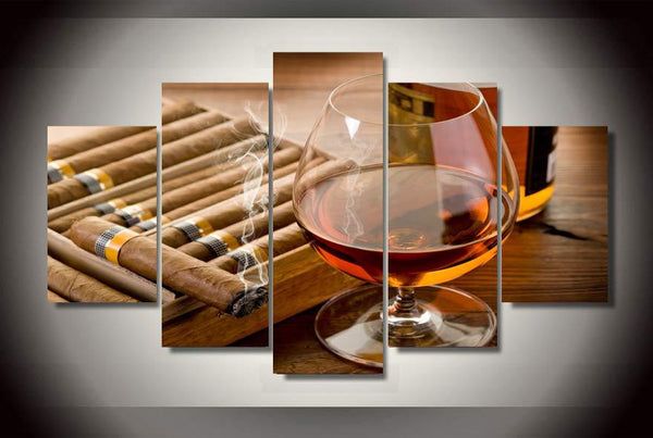 Wine and Cigars 5 Piece Canvas