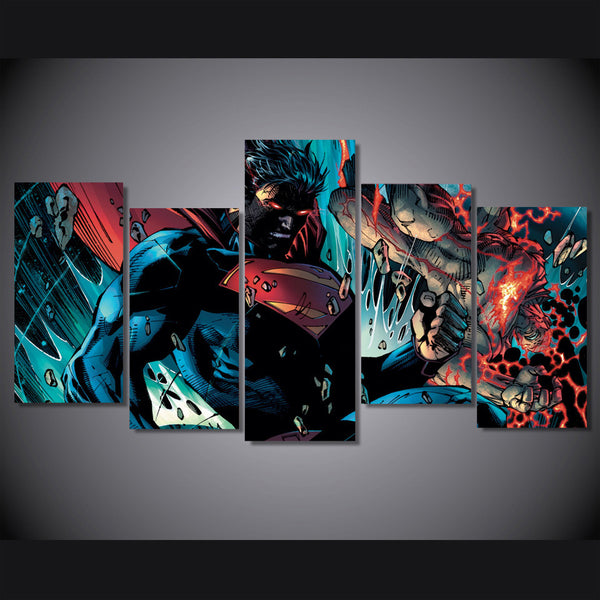 Superman Enraged 5 Piece Canvas Painting