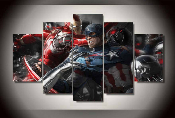Captain America Iron Man 5 Piece Canvas Painting