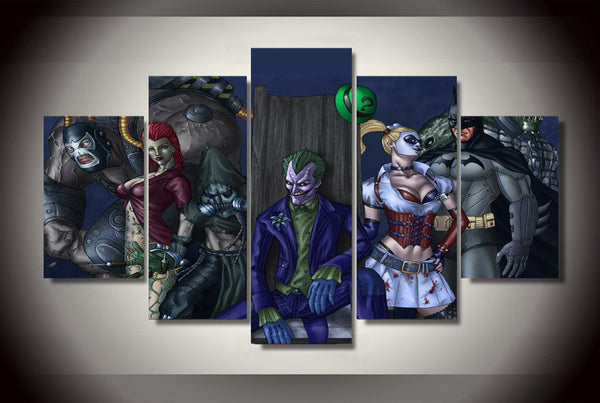 Batman Arjham Asylum 5 Piece Canvas Painting